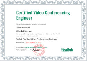 ngineer-Yealink Certified Video Conferencing Engineer-tomasz_kozlowski