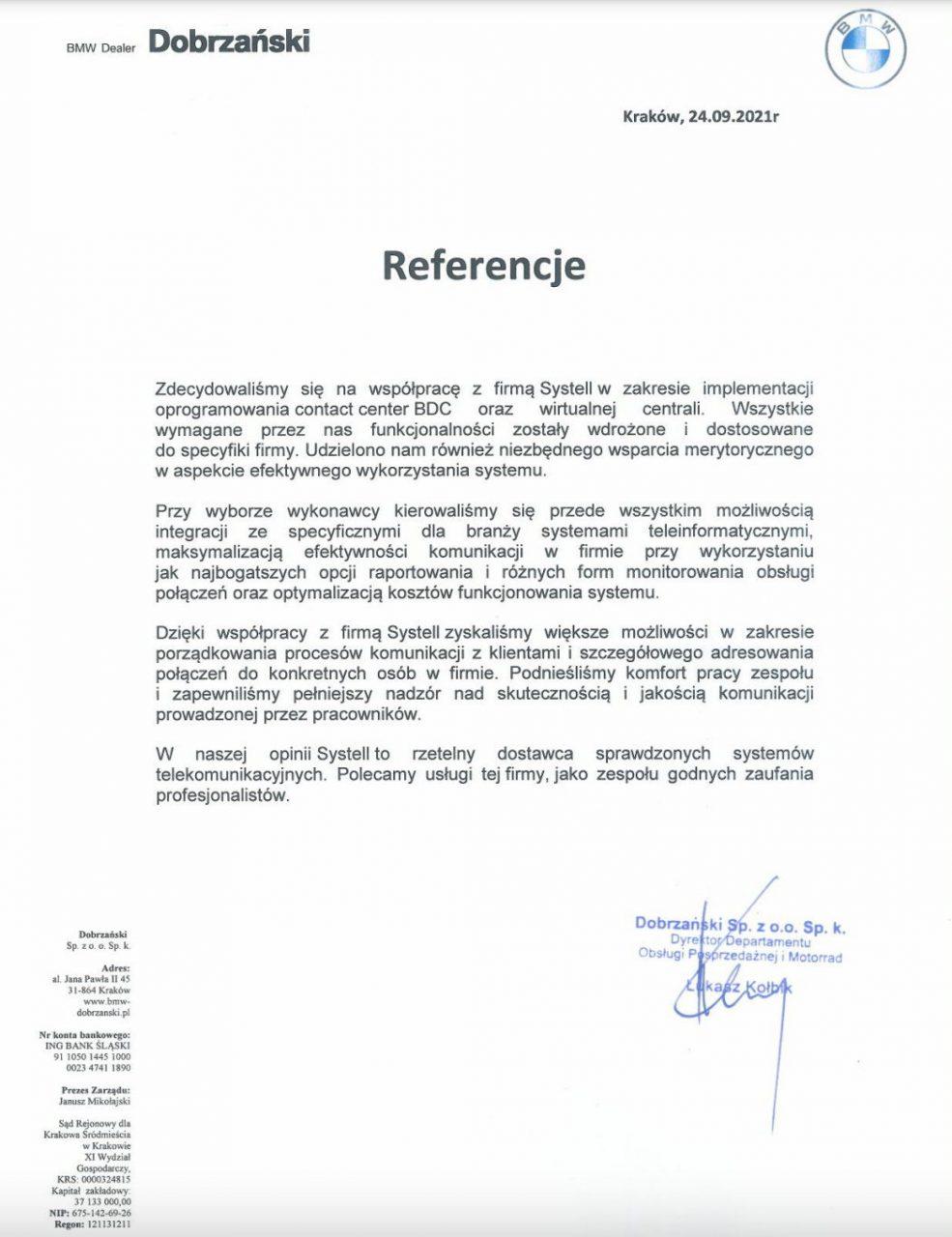 BMW Dobrzański referencje
